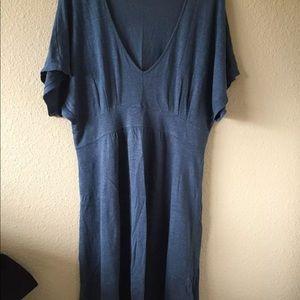 Garnet Hill S blue linen drape tunic dress natural